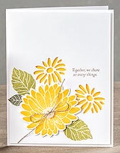 handmade greeting card ... Raison Spéciale ... posie with negative cut flowers and stamped and die cut one in larger size ... pretty yellow flowers ...