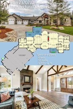 Introducing Architectural Designs Mountain Ranch Home Plan 23707JD. Based on a version with a 3-car garage, this one gives you a 4th bay for your RV. Ready when you are. Where do YOU want to build?