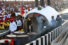 "THE KUOMBOKA CEREMONY OF ZAMBIA: The Lozi King emerges from the Nalikwanda also known as the ""Royal Barge"" Its an interesting ceremony done every year in Zambia by the Lozi people."