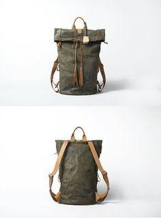 Leather backpack for Men Gray Leather Backpack Large Original Backpack Vintage looking Backpack via Etsy