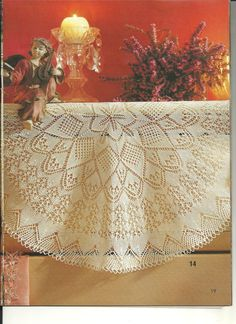 "Photo from album ""Diana Special - on Yandex. Crochet Doily Patterns, Shawl Patterns, Crochet Doilies, Lace Knitting, Knitting Stitches, Knitting Patterns, Mantel Redondo, Lace Doilies, Knitted Shawls"