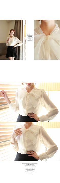 FIONA blouses 148297 < 샤리본*blouse/f13921 오간자소재의 리본으로 여성미up!!단정하면서도 우아함이 느껴지는~결혼식하객룩으로도 넘좋은~! < FASHION / CLOTHES < WOMEN < SHIRT&BLOUSES < blouses
