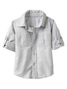 Gap Kids Convertible chambray stripe shirt