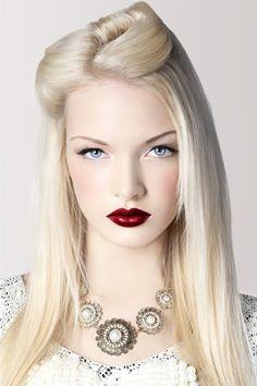 white skin red lips blonde makeup