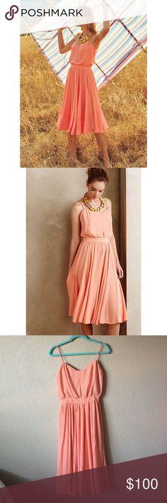 """Paper Crown Peachtree Orange Dress Gorgeous dress from Lauren Conrad's line. Sold at anthropologie. Poly crepe. Set-in waist. Blouson bodice. Side zip. Hand wash. Approx 40"""" length. Tiny flaw in back from store sensor. Offers welcome through offer tab. No trades. 10115171801 Anthropologie Dresses"""