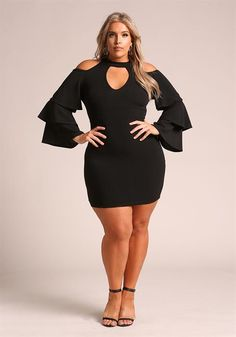 Plus Size Tiered Bell Sleeve Cut Out Bodycon Dress