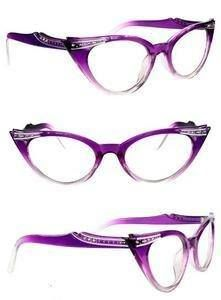 ec20400873 My new glasses Restyle Purple Cats Eye Rhinestone Glasses Lens Pinup  Rockabilly - LOVE