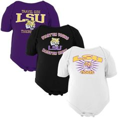 LSU Tigers Infant 3-Pack Creeper Set - Black/White/Purple