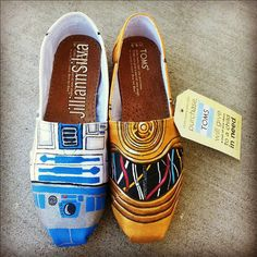 Star Wars R2D2 / C3P0 Toms - New Shoes Included - Made to Order - MENS / WOMENs TOMs OR VANs on Etsy, $130.00