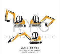Digger SVG cut file, Excavator SVG DXF, Ground works svg, Tractor SVG, Construction tools svg, cutting files for Cricut Explore and Silhouette Cameo by kYoDigitalStudio on Etsy