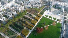 Parc André Citroën, Paris: axial diagonal path transects lawn and unifies and links spaces of park. Landscape And Urbanism, Landscape Elements, Park Landscape, Urban Landscape, Landscape Designs, Plant Design, Garden Design, Picnic In Paris, Hidden Places