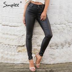 Simplee de cuero Delgado mujer pantalones capris leggings Otoño invierno sexy pantalones de cintura alta pantalones lápiz pantalones Negros femeninos inferiores