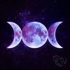triple moon Goddess celestial space purple Pagan art print by EnchantedWhispersArt Goddess Tattoo, Goddess Art, Goddess Pagan, Luna Goddess, Moon Painting, Acrylic Painting Tips, Triple Moon Goddess, Moon Witch, Pagan Art