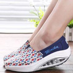 Fish Pattern Rocker Sole Swing Platform Sport Shoes For Women