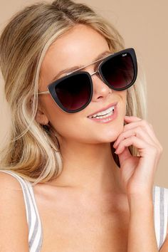 9f891fc596 Quay Australia French Kiss Black Sunglasses - Trendy Sunglasses - Sunglasses  -  60.00 – Red Dress