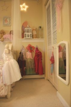 chair rail for all of Sam's little things!    love the dress-up corner