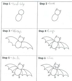 Hello children, do you know how to draw a bat? Look: Our bats: by M. - Hello children, do you know how to draw a bat? Look: Our bats: by Marco K. by Naim. Cartoon Bat, Drawing Cartoon Characters, Cartoon Drawings, Animal Drawings, Easy Drawings, Drawing Animals, Theme Halloween, Halloween Doodle, Halloween Drawings