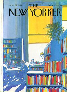 The New Yorker. Published June 29, 1968. People read in the library. Arthur Getz.    Fluent in the visual language of both city and country, Getz's boldly colored covers and his curvy signature soon became a recognizable part of the magazine's image. From the late 1940s on it was not uncommon for several Getz covers to appear on the The New Yorker during a single month.