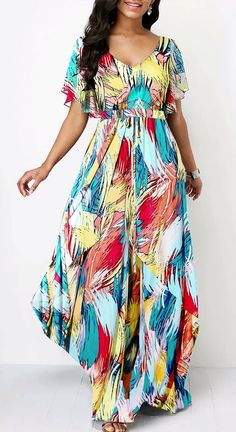 Rosewe Women Dress Multi Color V Neck Printed Maxi Butterfly Sleeve Butterfly Sleeve V Back Printed Dress Party Dress Sale, Club Party Dresses, Sexy Dresses, Casual Dresses, Short Dresses, Trendy Dresses, Spandex Dress, African Fashion Dresses, Dress Fashion