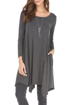 Invug Women Casual Loose Soft Crewneck Long Sleeve Pockets Swing T-shirt Dress Black Grey L at Amazon Women's Clothing store: