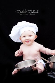 Baby chef! I have a feeling Brian will do this with our kids lol