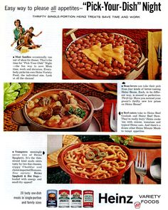 """""""Pick-Your-Dish"""" Night with Heinz - 1962 Print Ad"""