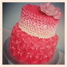 Pink ombre ruffles and rosette birthday cake  WWW.TWENTYONECAKES.COM