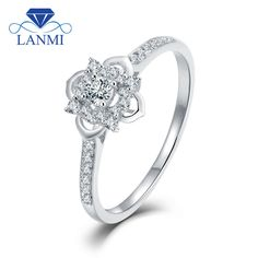 LANMI Flower Shape Jewelry Solid 18K Au750 White Gold SI Clarify 0.1ct Diamond Wedding Promised Ring for Women Anniversary
