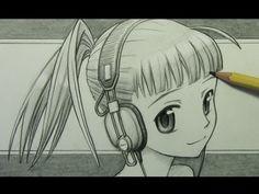 """How to Draw a Manga Girl with Headphones """" le type m'énerve,mais le dessin est joli alors ...."""