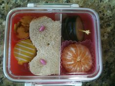 butterfly sandwich with crackers fruit and m&m's