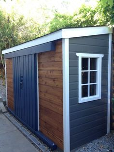 Shed Plans - A very unique Sarawak garden shed, can't decide between cedar or maintenance free siding? Mix and match! - Now You Can Build ANY Shed In A Weekend Even If You've Zero Woodworking Experience! Backyard Sheds, Outdoor Sheds, Garden Sheds, Outdoor Storage Sheds, Outdoor Spaces, Backyard Barn, Modern Backyard, Large Backyard, Garage Velo