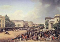 Unter den Linden: Militärparade auf dem Opernplatz, 1824-1830, Franz Krüger Quelle: http://www.wikipedia.de