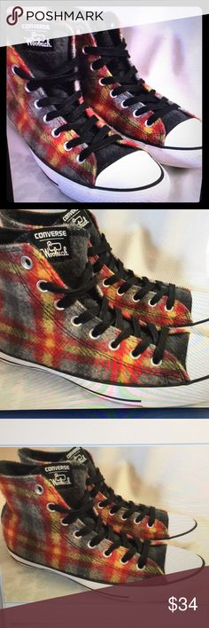 73d3c88b33a4 Converse Woolrich Chuck Taylor plaid shoes Converse will rich gray red and  yellow plaid wool fabric high top shoes lace front men size 9 women s size  11 ...