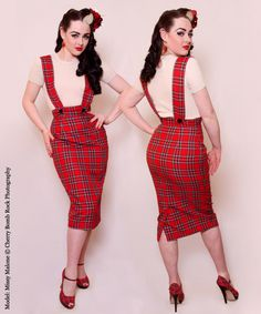 1950s Pinafore Strap Wiggle Skirt  from Vivien of Holloway i love the tartan