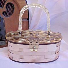 Vintage 1950's Era Lucite Gold Basket Weave Purse Handbag #LuciteBasketWeave