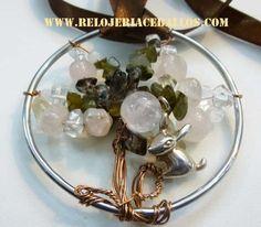 árbol de la vida con piedras naturales y ardilla de plata