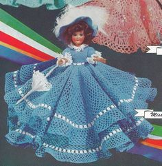 """Vintage Crochet PATTERN to make - 8"""" Doll Clothes Dress Hat Umbrella Petticoat Panties. This is a pattern and/or instructions to make the item only. by Vintage Home Arts, http://www.amazon.com/dp/B00AB21G6O/ref=cm_sw_r_pi_dp_L8nVrb00MWB25"""