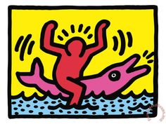 """By Keith Haring. Piece called Dolphin Rider. He first opened his pop shop in 1986. He used the technique Giclée (French for """"to spray"""") is a printing process where millions of ink droplets are sprayed onto a high-quality paper."""