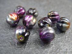 8MM Melon-Shaped Round Beads  Marea Purple/Jet  by BeadsYouNeed