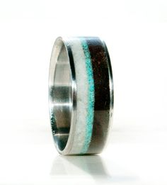 Mens Unique Wedding Band - Wood and Antler ring with turquoise inlay and titanium Mens Wedding Bands Antler, Skull Wedding Ring, Wedding Ring For Him, Unique Wedding Bands, Wedding Men, Wedding Ideas, Wedding Stuff, Princess Wedding Rings, Antler Ring