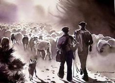 estives - Painting, 60x80 cm ©2014 par jean guy DAGNEAU - Art figuratif, Papier, Animaux, vie pastorale