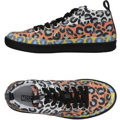 Love Moschino High-tops & Sneakers (114.845 CLP) ❤ liked on Polyvore featuring shoes, sneakers, orange, orange sneakers, leopard print flat shoes, animal trainer, leopard sneakers and leopard shoes