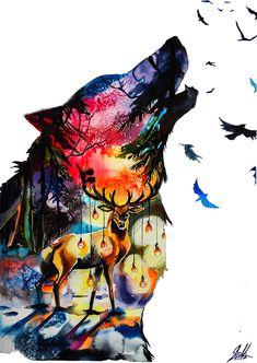 Watercolor animal paintings, watercolor art, watercolor paintings, surreal animal art focusing on nature beauty by Vivien Szaniszlo. Watercolor Paintings Of Animals, Animal Paintings, Watercolor Artwork, Watercolor Print, Art Paintings, Wolf Wallpaper, Animal Wallpaper, Wolf Artwork, Wolf Painting