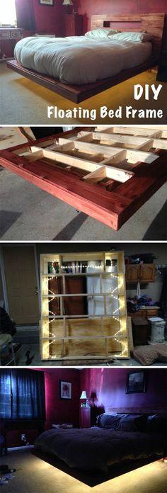 DIY Floating Bed Frame With LED Lighting