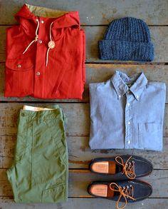 Batten Sportswear 60/40 Travel Shell Parka | Columbiaknit Knit Hat | Gitman Bros. Vintage Chambray Shirt | Oak Street Bootmakers Navy Suede Red Brick Sole Trail Oxfords | Engineered Garments Rip Stop Ground Crew Pants