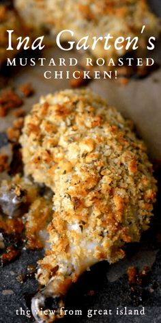 Ina Garten's Mustard Roasted Chicken! Ina Garten's Mustard Roasted Chicken is tender and succulent with a crunchy mustard and thyme crumb coating ~ it's become a favorite in our house! Turkey Recipes, Meat Recipes, Cooking Recipes, Healthy Recipes, Recipies, Game Recipes, Wing Recipes, Noodle Recipes, Food Network Recipes