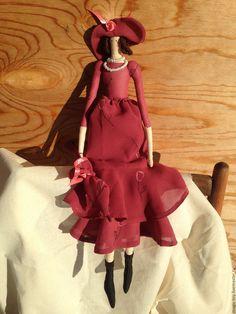Купить Кукла Тильда - коралловый, тильда кукла, дама в шляпе, зонтик, текстильная кукла