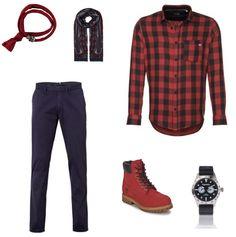 Rood & Blauw Outfit outfit - Business - Deze look is super stoer en edgy. De rode blouse met ruitjes van Jack & Jones is edgy en stoer, de blauwe broek van Van Gils is chic. Door deze twee tegengestelde items met elkaar te combineren ontstaat een spannende mix! Het geheel wordt afgemaakt door de schoenen van Timberland, het horloge van Superdry, de sjaal van Profuom en de armband van Icon brand.