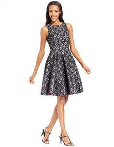 B Michael Contrast Lace Pleated Dress