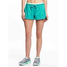 Old Navy Womens Go Dry Semi Fitted Shorts ($15) ❤ liked on Polyvore featuring activewear, activewear shorts, splashing teal, old navy and old navy activewear